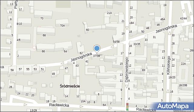 Częstochowa, Jasnogórska, 37/39, mapa Częstochowy