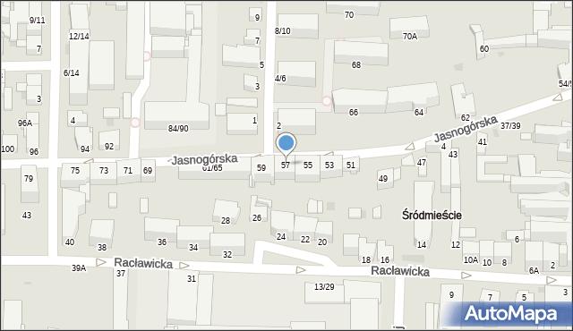Częstochowa, Jasnogórska, 57, mapa Częstochowy