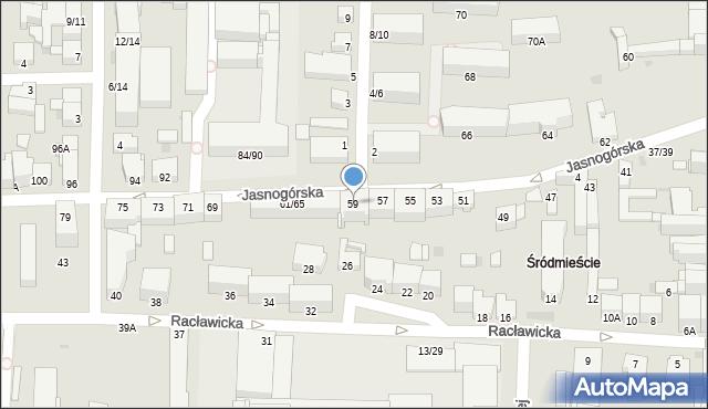Częstochowa, Jasnogórska, 59, mapa Częstochowy