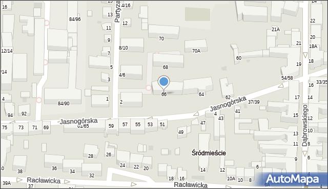 Częstochowa, Jasnogórska, 66, mapa Częstochowy