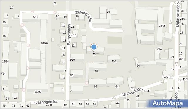 Częstochowa, Jasnogórska, 70, mapa Częstochowy