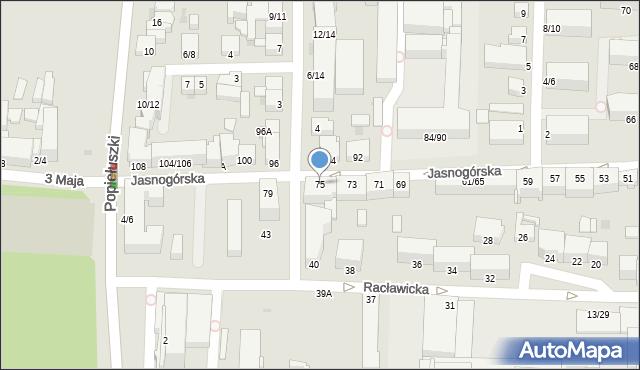 Częstochowa, Jasnogórska, 75, mapa Częstochowy