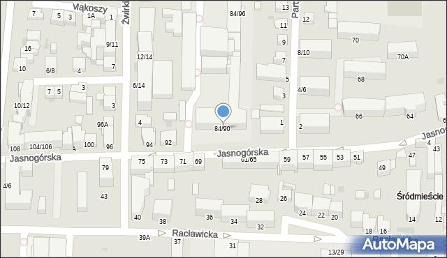 Częstochowa, Jasnogórska, 84/90, mapa Częstochowy