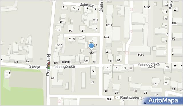 Częstochowa, Jasnogórska, 96A, mapa Częstochowy