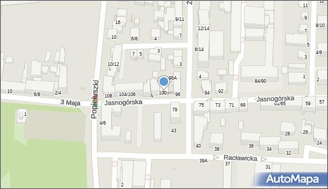 Częstochowa, Jasnogórska, 98/100, mapa Częstochowy