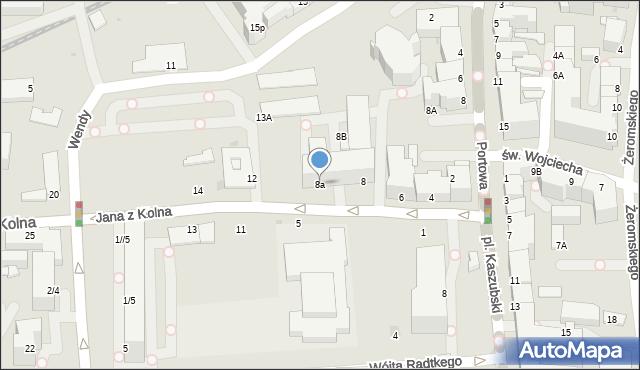 Gdynia, Jana z Kolna, 8a, mapa Gdyni