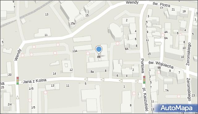 Gdynia, Jana z Kolna, 8B, mapa Gdyni