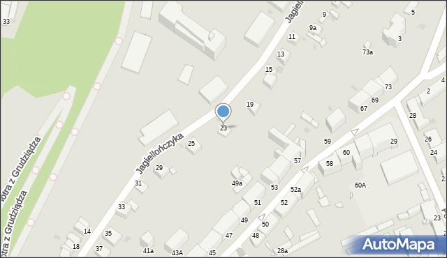 Grudziądz, Jagiellończyka, 23, mapa Grudziądza