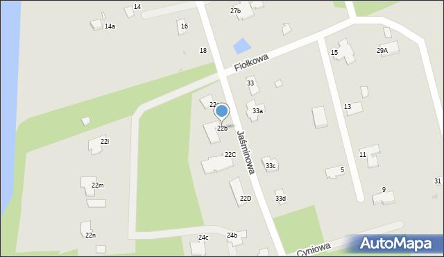 Grudziądz, Jaśminowa, 22b, mapa Grudziądza