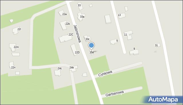 Grudziądz, Jaśminowa, 33d, mapa Grudziądza