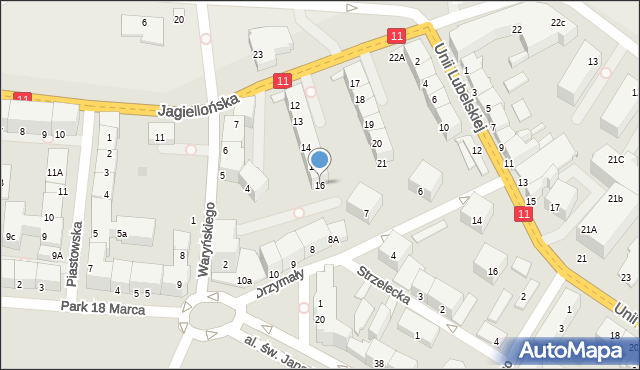 Kołobrzeg, Jagiellońska, 16, mapa Kołobrzegu
