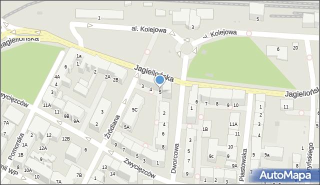 Kołobrzeg, Jagiellońska, 5, mapa Kołobrzegu