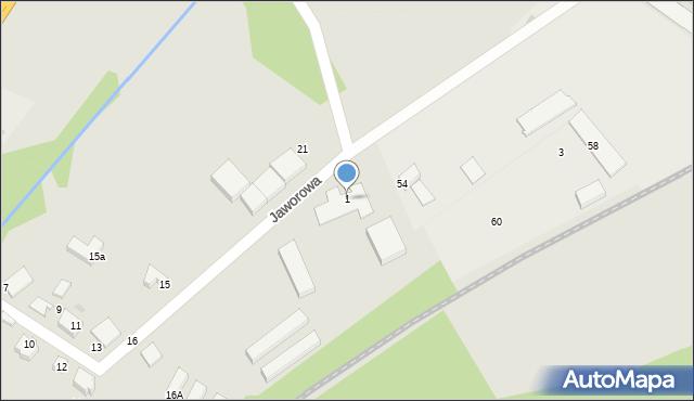 Łaziska Górne, Jaworowa, 1, mapa Łaziska Górne