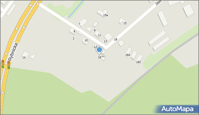 Łaziska Górne, Jaworowa, 14, mapa Łaziska Górne