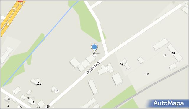 Łaziska Górne, Jaworowa, 21, mapa Łaziska Górne