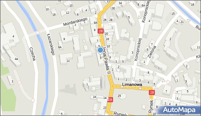 Limanowa, Jana Pawła II, 3, mapa Limanowa