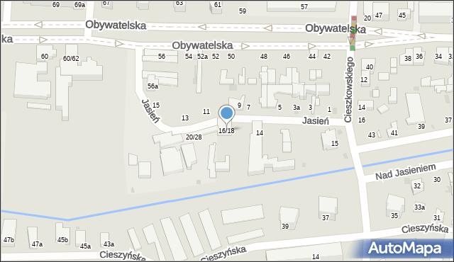 Łódź, Jasień, 16/18, mapa Łodzi