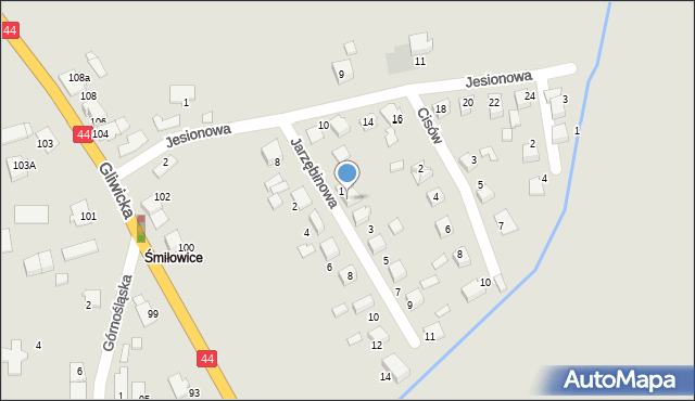Mikołów, Jarzębinowa, 1B, mapa Mikołów