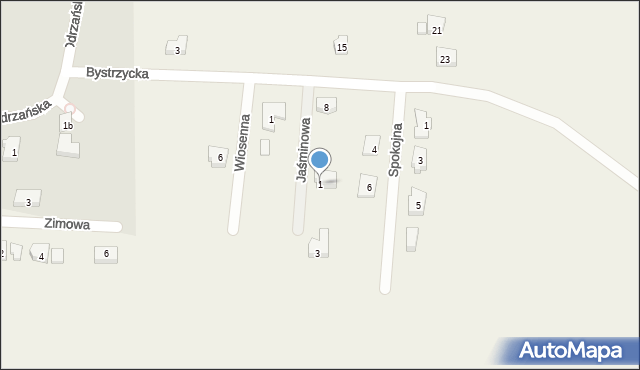 Mrozów, Jaśminowa, 1, mapa Mrozów