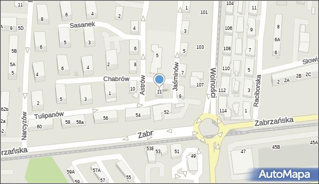 Ruda Śląska, Jaśminów, 11, mapa Rudy Śląskiej