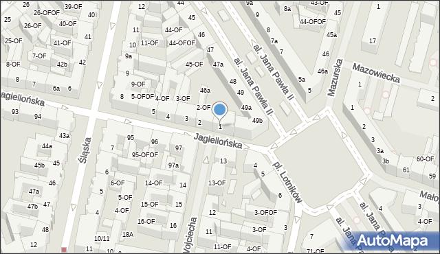 Szczecin, Jagiellońska, 1, mapa Szczecina