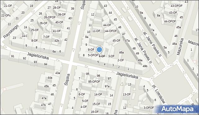 Szczecin, Jagiellońska, 5-OF, mapa Szczecina