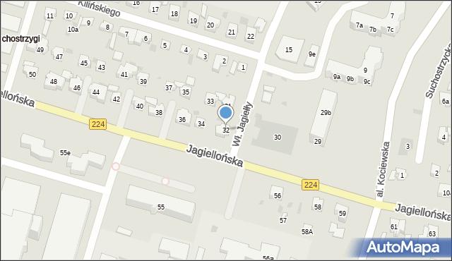 Tczew, Jagiellońska, 32, mapa Tczew