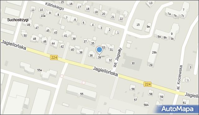 Tczew, Jagiellońska, 34, mapa Tczew