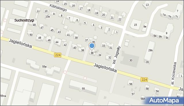 Tczew, Jagiellońska, 36, mapa Tczew