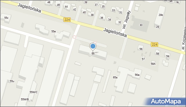Tczew, Jagiellońska, 55, mapa Tczew