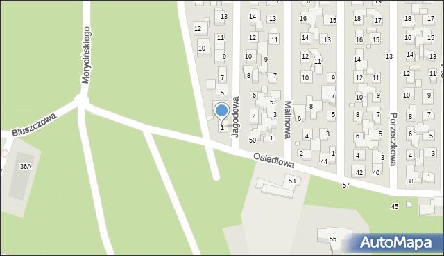 Toruń, Jagodowa, 1, mapa Torunia