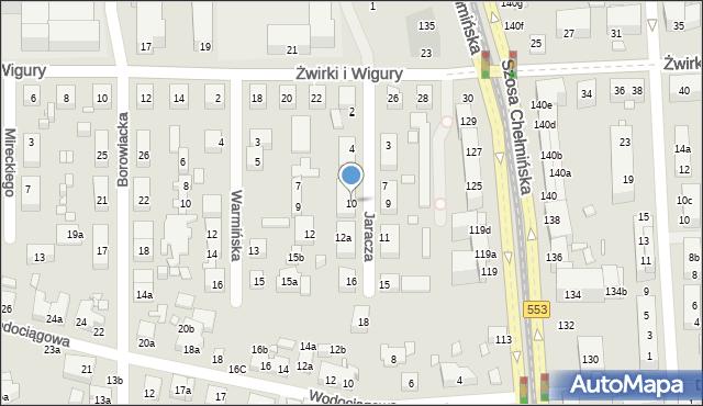 Toruń, Jaracza Stefana, 10, mapa Torunia