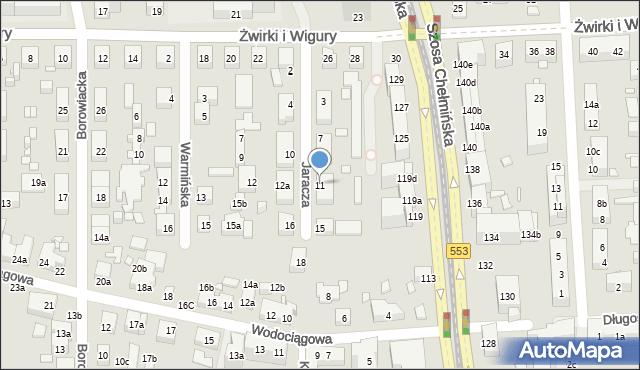 Toruń, Jaracza Stefana, 11, mapa Torunia
