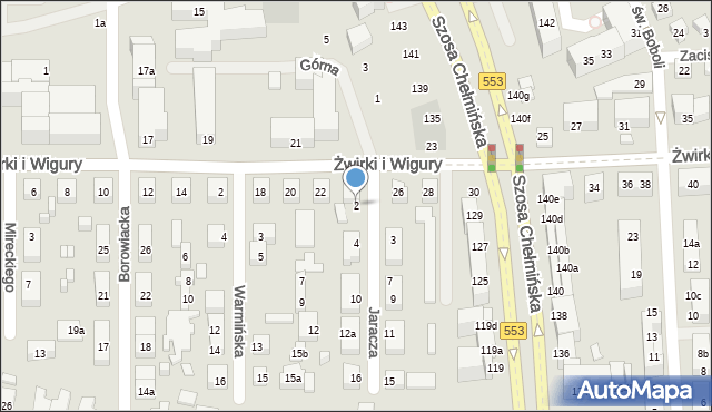 Toruń, Jaracza Stefana, 2, mapa Torunia