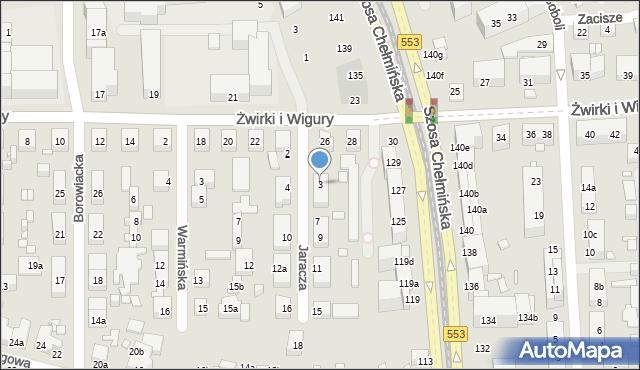 Toruń, Jaracza Stefana, 3, mapa Torunia