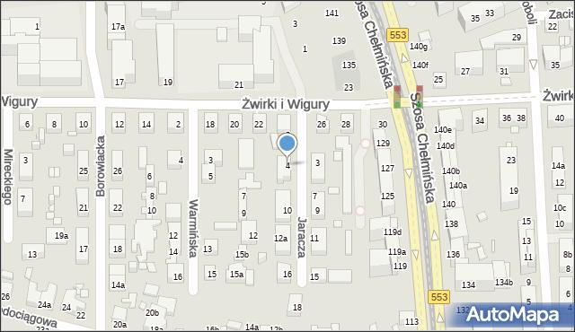 Toruń, Jaracza Stefana, 4, mapa Torunia