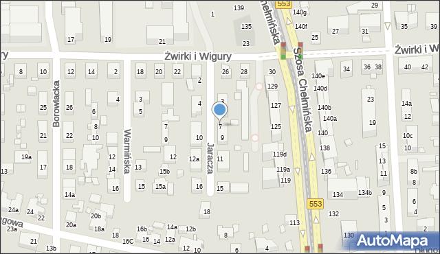 Toruń, Jaracza Stefana, 7, mapa Torunia