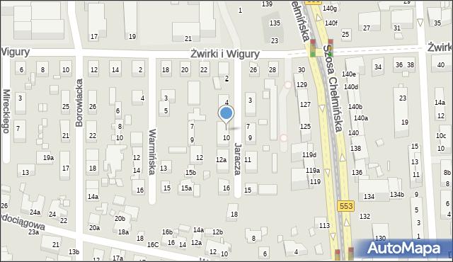 Toruń, Jaracza Stefana, 8, mapa Torunia