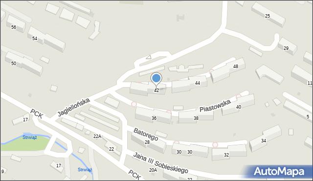 Ustrzyki Dolne, Jagiellońska, 42, mapa Ustrzyki Dolne