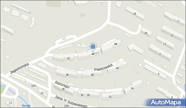 Ustrzyki Dolne, Jagiellońska, 44, mapa Ustrzyki Dolne