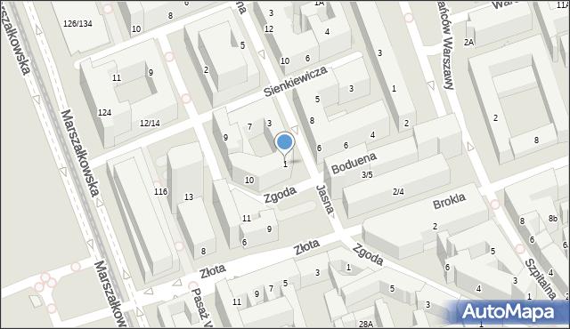 Warszawa, Jasna, 1, mapa Warszawy