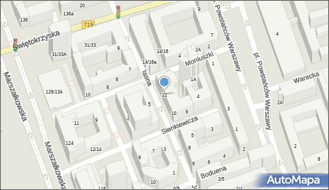 Warszawa, Jasna, 12, mapa Warszawy