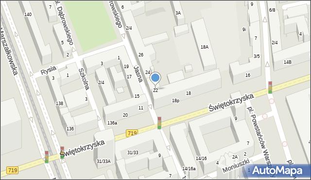 Warszawa, Jasna, 22, mapa Warszawy
