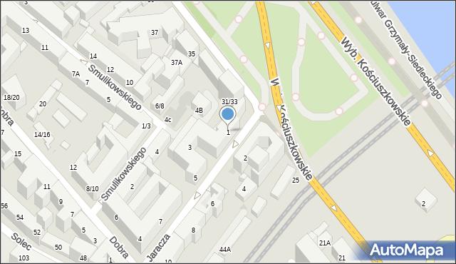 Warszawa, Jaracza Stefana, 1, mapa Warszawy