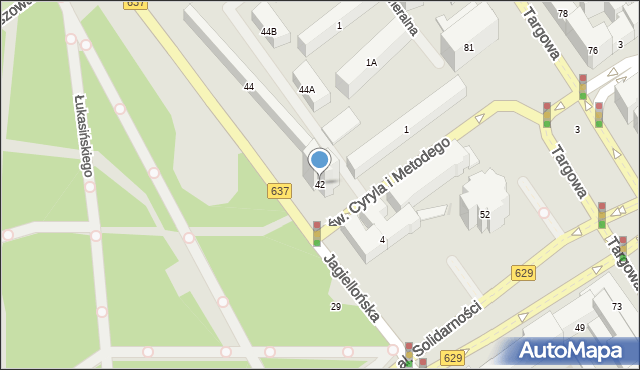 Warszawa, Jagiellońska, 42, mapa Warszawy