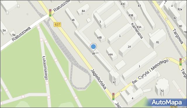 Warszawa, Jagiellońska, 44, mapa Warszawy
