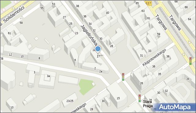 Warszawa, Jagiellońska, 17, mapa Warszawy