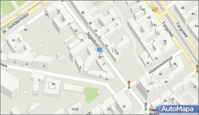 Warszawa, Jagiellońska, 19, mapa Warszawy