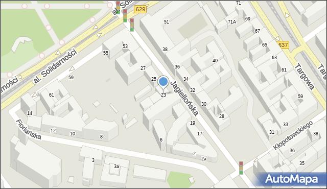 Warszawa, Jagiellońska, 23, mapa Warszawy