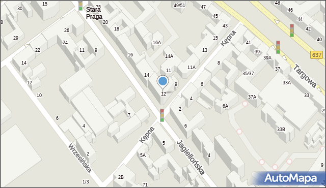 Warszawa, Jagiellońska, 12, mapa Warszawy